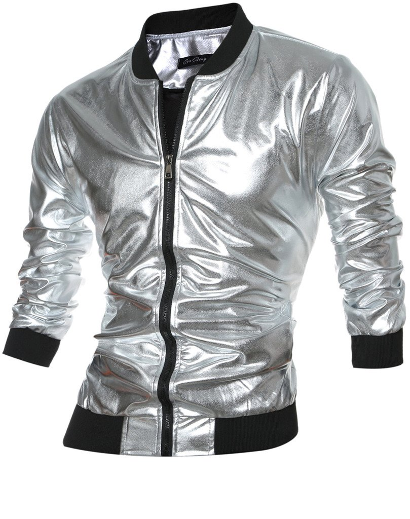 CIC Collection Men's Metallic Front Zip Nightclub Jacket by CIC Collection