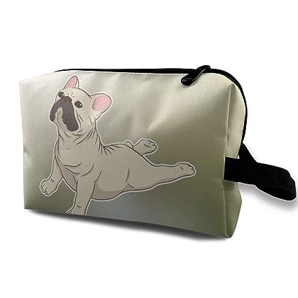 French Bulldog Yoga Travel Makeup Bags Cosmetic Bag Zipper ...
