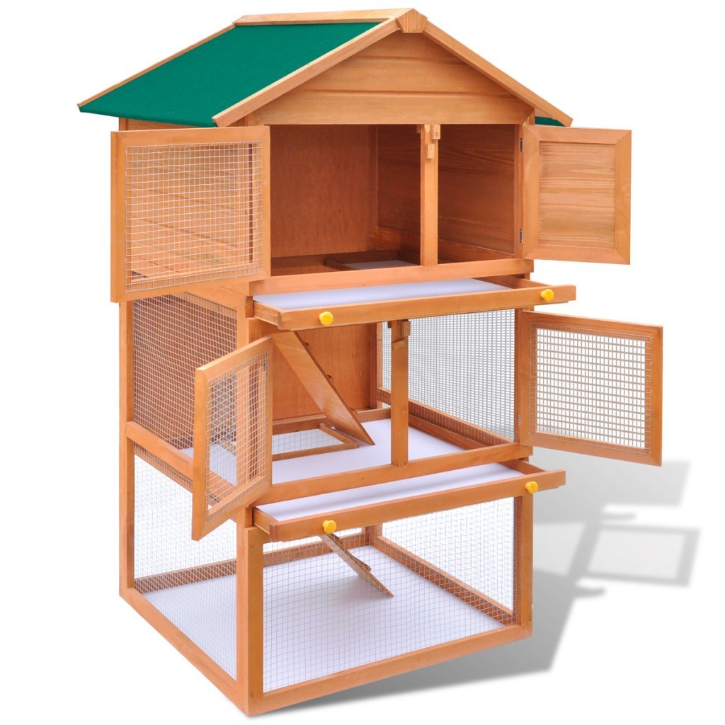 Festnight Outdoor Rabbit Hutch Small Animal House Pet Cage 3 Layers Wood