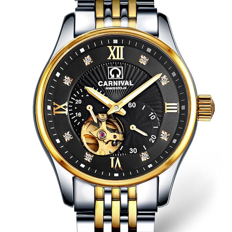 jianianhua Business Herren Stahl Armband Wasserdicht Automatische self-wind Mechanische Uhr Armbanduhr – Gold L
