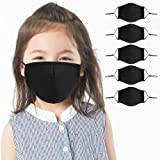5 Pack Kids Reusable, Washable Black Facial Cotton Covering Children Face Shield for Cycling Travel Outdoors Includes…