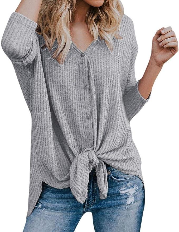 H//H Damen Freizeit Fledermaus Blusen Oberteile V-Ausschnitt Top Shirt Tunika