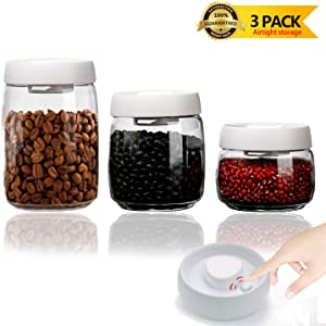 Vacuum Seal Food Storage Container Airtight Set, UPRA Clear Plastic Canisters Sets for Kitchen with Airtight Lids, 3 Pieces BPA Free, for food, snacks, cereal,sugar, flour, coffee