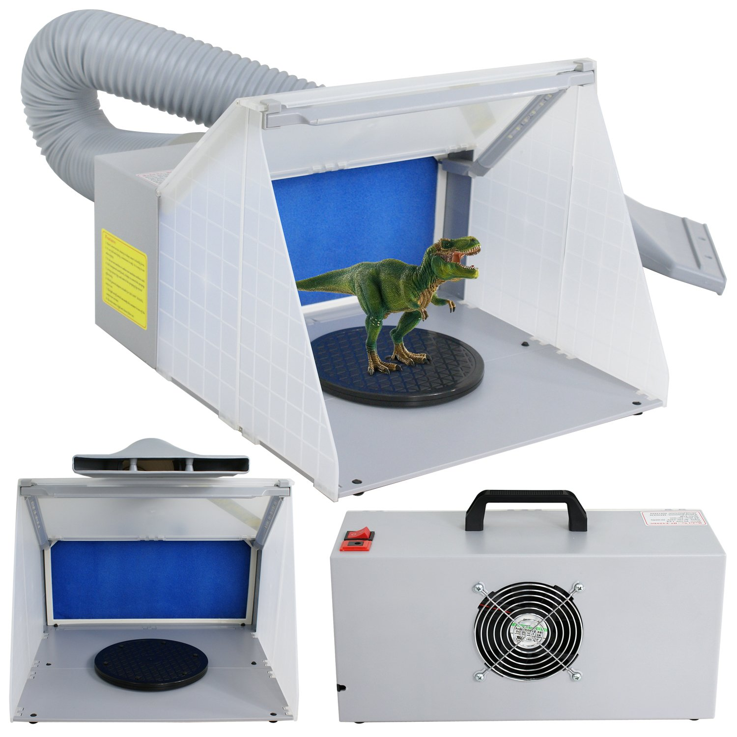 ZENY LED Lighting Hobby Airbrush Spray Booth Kit w/Fun for Painting Art, Cake, Craft, Hobby, Nails, T-shirts, w/3 LED