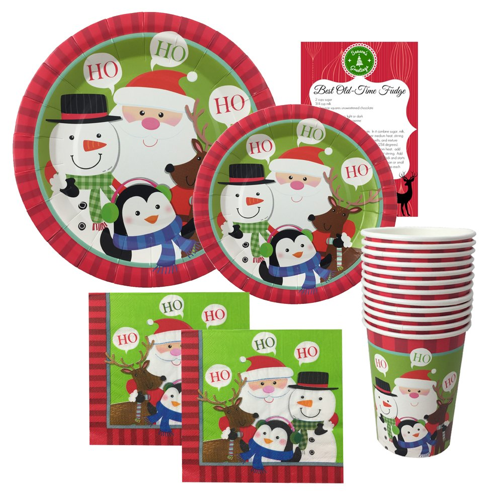 Christmas Disposable Dinnerware Set for Your Holiday Christmas Party - Santa Claus and Friends - Dinner Plates, Dessert Plates, Cups, Napkins Plus Bonus Fudge Recipe - 76 Piece (Serves 12)