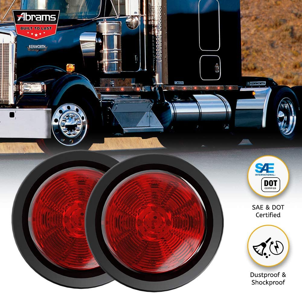 Waterproof Round Clearance Light 1 Pack For Trucks /& Trailers IP67 Submersible 2 in 1 Reflector Polycarbonate Reflector Abrams 2.5 Red 13 LED Side Marker Trailer Lights SAE//DOT Certified