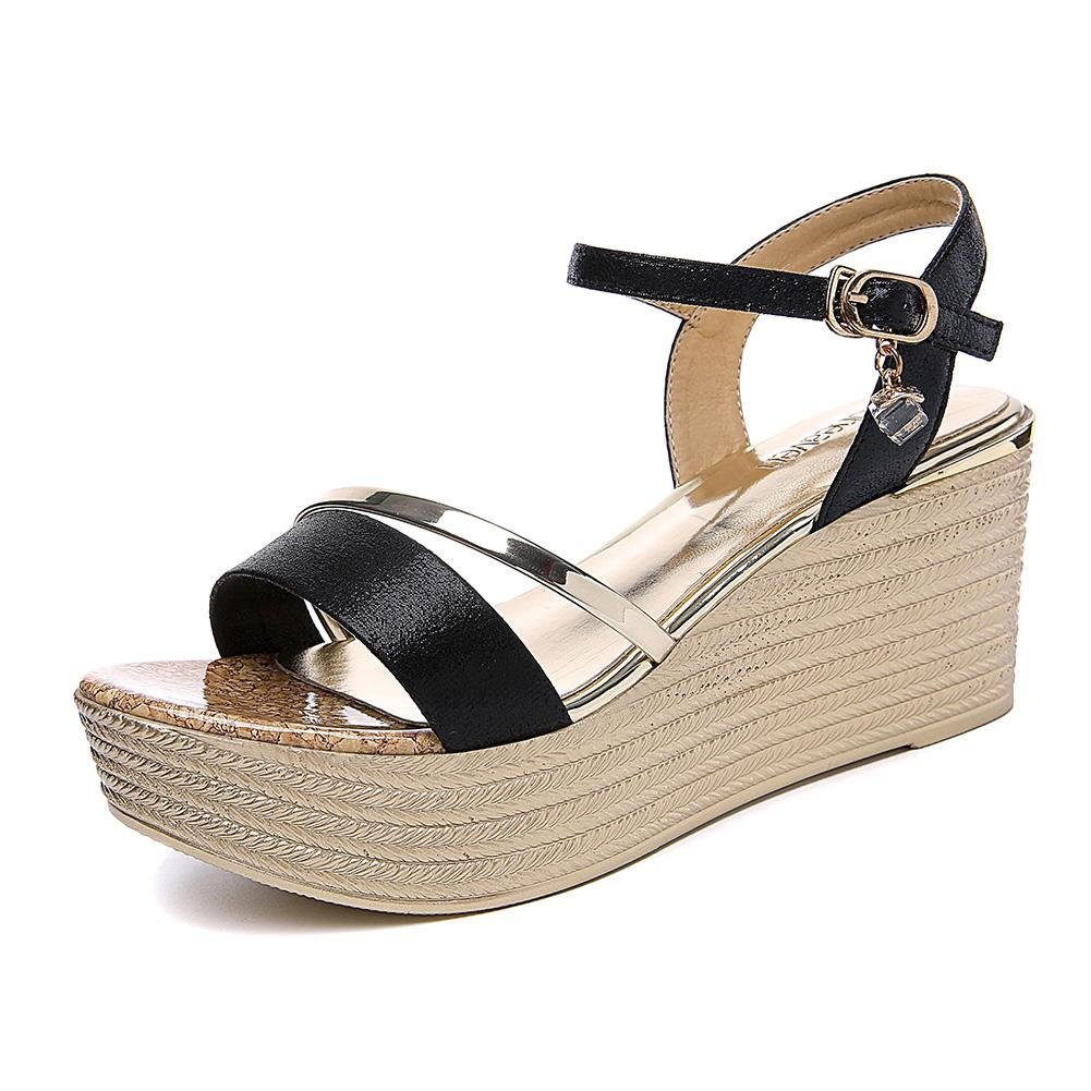 KJJDE Ladies Platform Shoes Chunky JZTC-8720 Belt Buckle Sandals B07BTMNCP8 37 EU|Black
