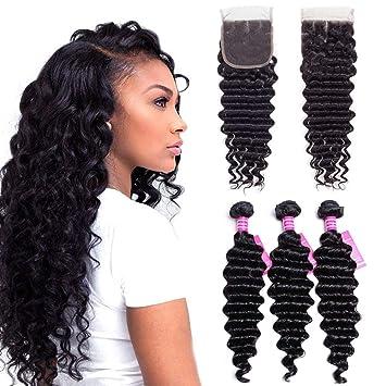 Vrvogue 12 14 16 10 Inch Brazilian Deep Wave 3 Bundles With Lace Closure 4x4 Free Part 100 Human Hair 7a Unprocessed Brazilian Virgin Hair Weave
