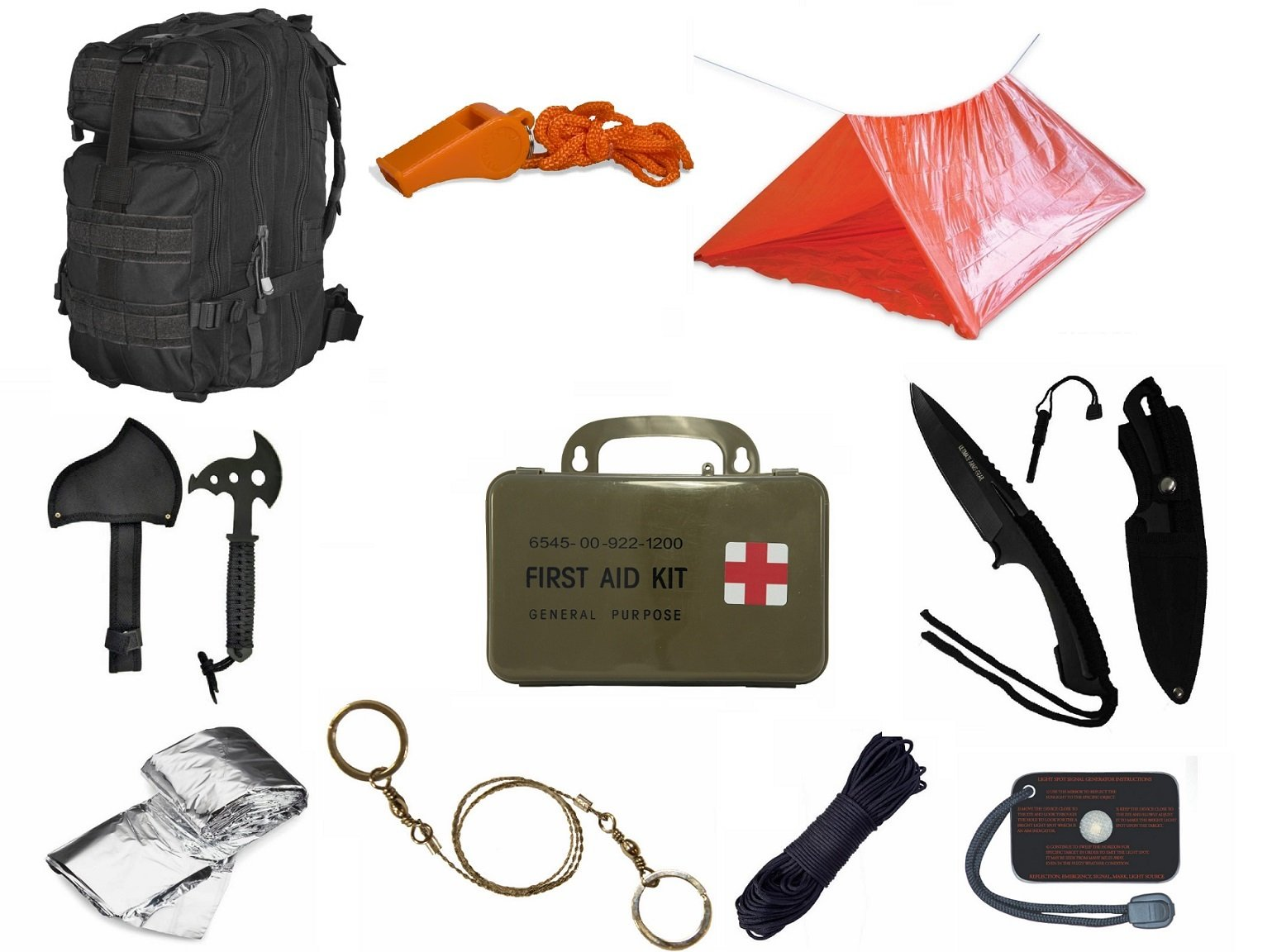 Ultimate Arms Gear Level 3 Assault MOLLE Black Backpack Kit; Signal Mirror, Polarshield Blanket, Knife Fire Starter, Wire Saw, Axe, 50' Foot Paracord, Camping Tube Tent, Whistle & First Aid Kit