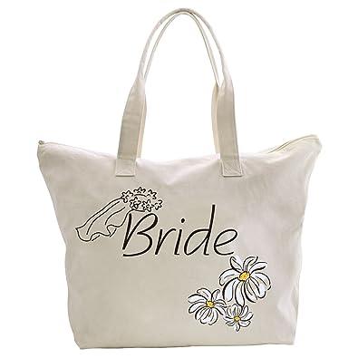 ElegantPark la mariée Marguerite Fleurs 100% Coton Naturel Tote Bags Sac à main femme bandoulière moyen de mariage 1Pac PKSubshq