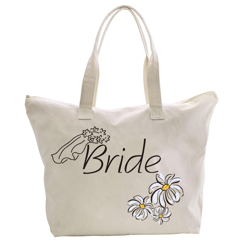 ElegantPark Bride Tote Bag Daisy for Wedding Bridal Shower Gifts Zip Canvas Cotton