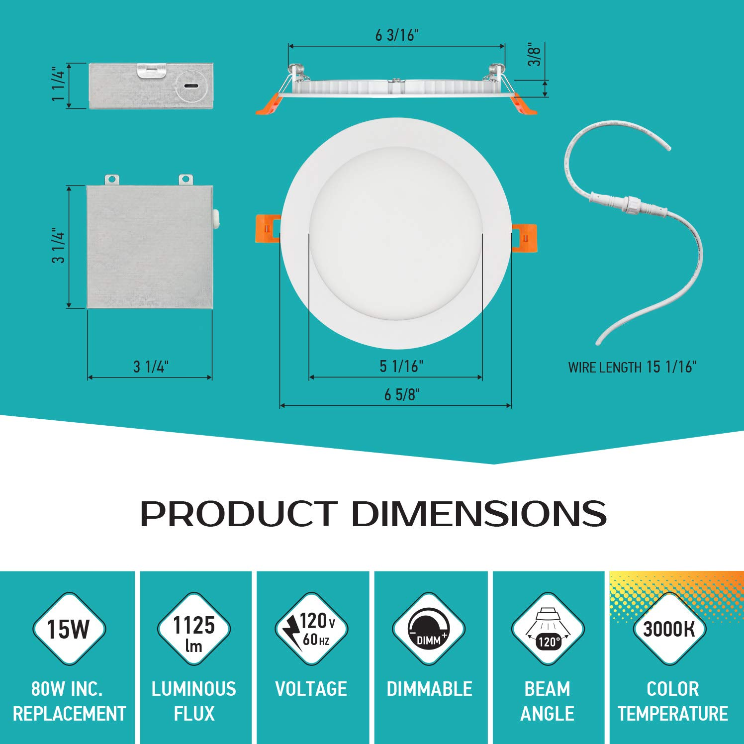 LUXTER (12 Pack) 6 inch Ultra-Thin Round LED Recessed Panel Light with Junction Box, Dimmable, IC Rated, 15W (80 Watt Repl.) 3000K Warm Light 1125 Lm. No Can Needed ETL & Energy Star Listed by Luxter (Image #4)