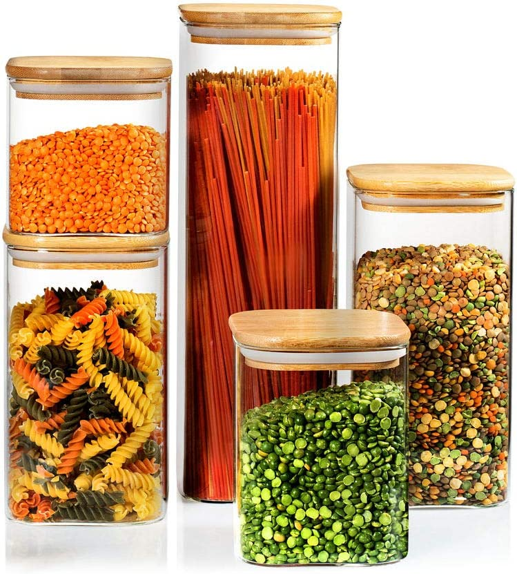 5 Square Canisters, Glass Kitchen Canister with Airtight Bamboo Lid, Glass Storage Jars for Kitchen, Bathroom and Pantry Organization Ideal for Flour, Sugar, Coffee, Candy, Snack & More