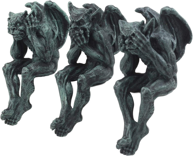 "Ebros Notre Dame Winged Hear No Evil See No Evil Speak No Evil Gargoyle Shelf Sitters 5"" Tall Gargoyle Statue Set of 3"