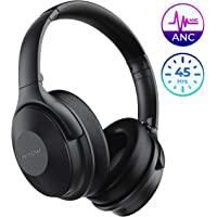 Mpow 45Hrs Active Noise Cancelling Headphones, H17 New Bluetooth Headphones Over Ear, Built-in Mic, Quick Charge, Deep Bass, Wired/Wireless Headset for Travel, Online Class, Home Office, TV