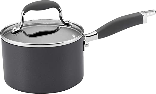 Gray Anolon Authority Hard Anodized Nonstick Sauce Pan//Saucepan with Lid 2 Quart