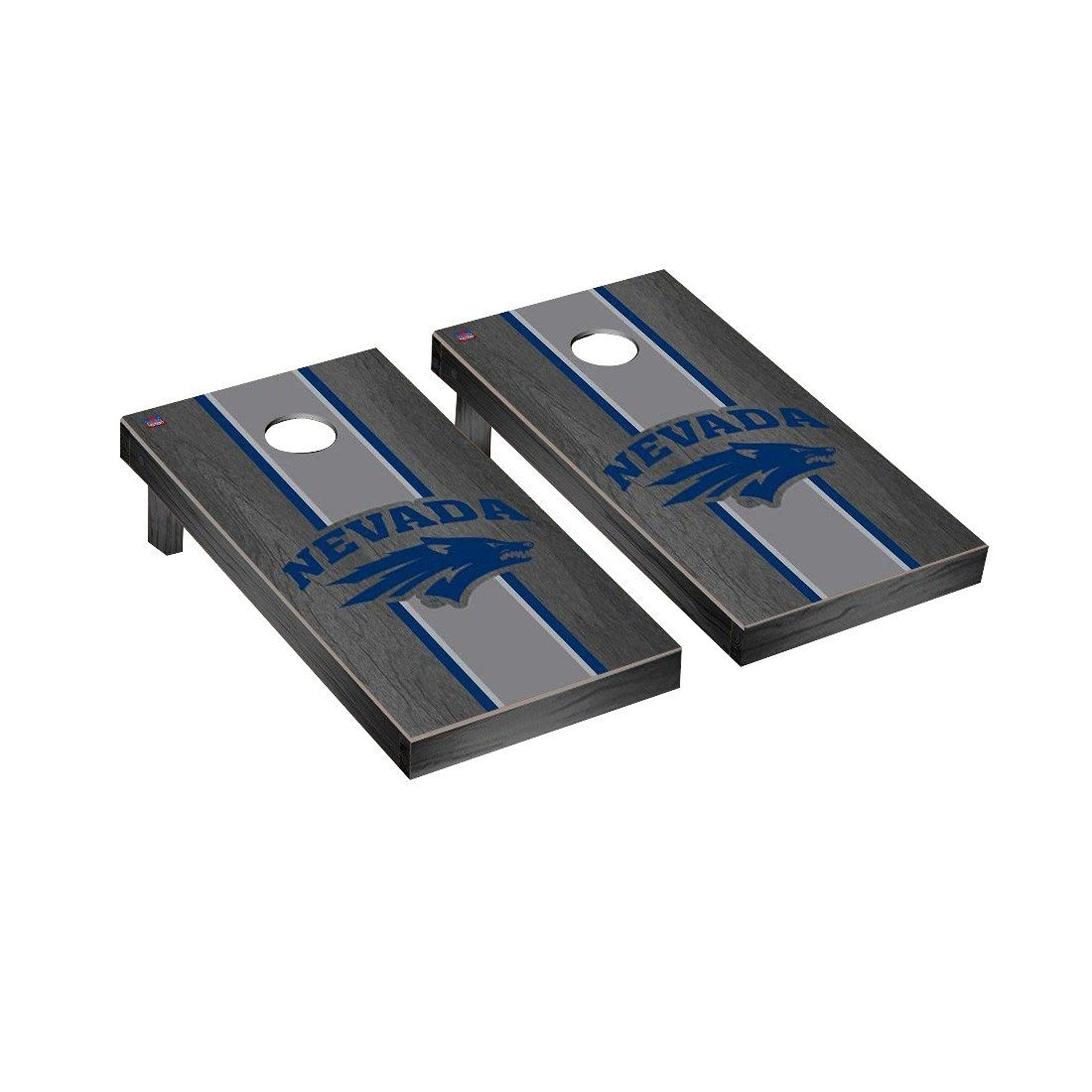 Victory Tailgate Regulation Collegiate NCAA Onyx Stained Stripe Series Cornhole Board Set - 2 Boards, 8 Bags - University of Nevada Reno Wolf Pack by Victory Tailgate