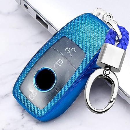 Ontto Smart Autoschlüssel Hülle Tasche Für Mercedes Benz E Klasse 2017 S Klasse 2018 W213 Kohlefaser Muster Auto Schlüsselhülle Schutzhülle Cover Mit 3 Taste Schlüsselanhänger Schlüsselschutz Blau Auto