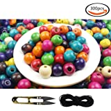 Outuxed 300 Pcs Assorted Color Round Wooden Beads (11-12 mm) for DIY Jewelry Making