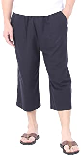 46d2d5ba45 CandyHusky Mens Cotton Pilates Yoga Capris Beach Lounge Sleep Pajama Capri  Pants