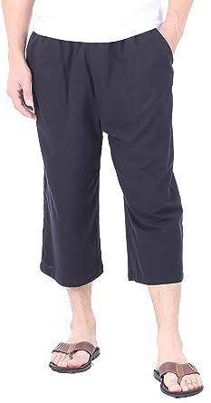 f5fb8835d4 CandyHusky Men's Elastic Waist Cotton Loose Comfort Casual Lounge Capri  Pants (S, Black)