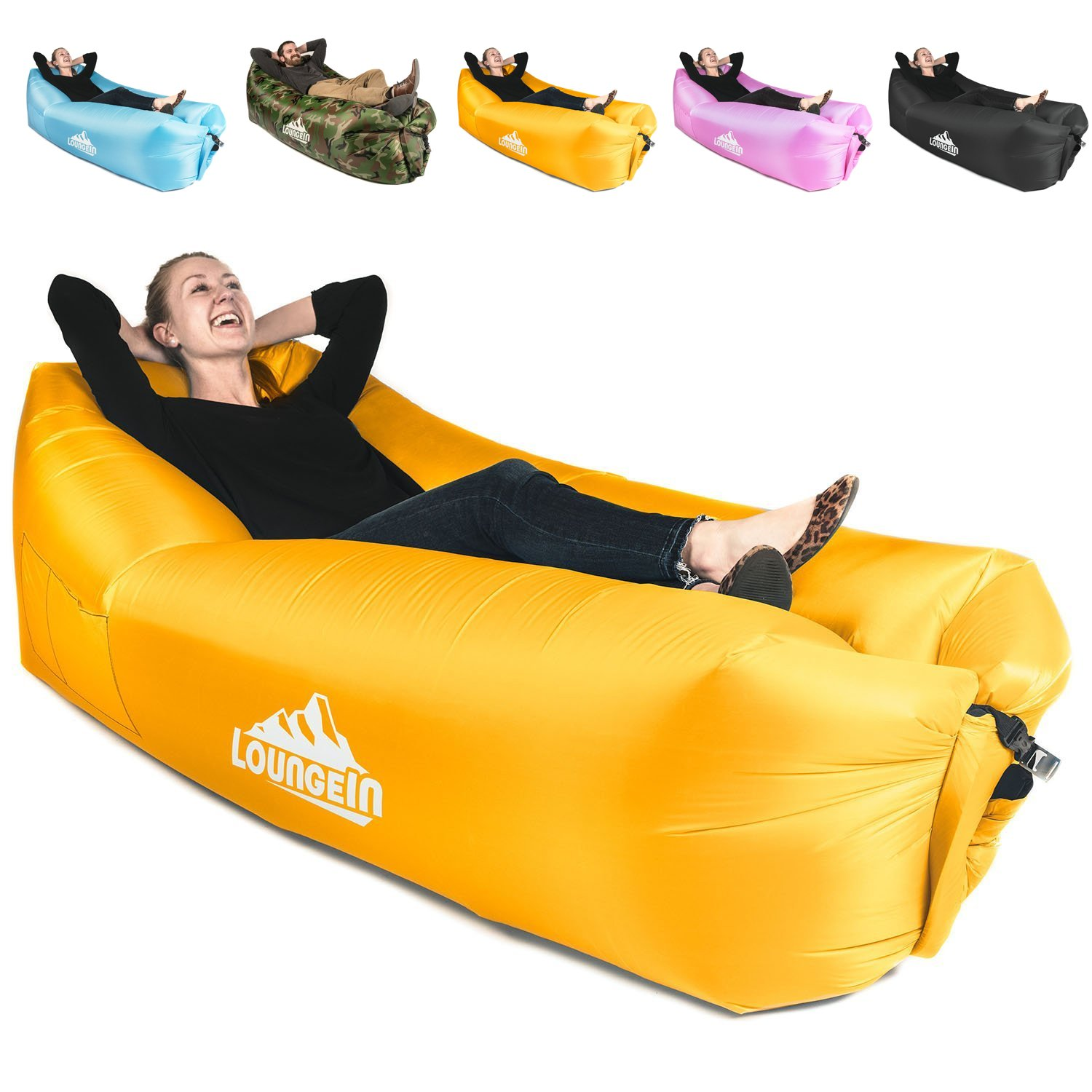 Lounge Outdoor at The Beach or Camping KyRush It Inflatable Lounger air Couch Chair Sofa Pouch Lazy Hammock Blow up Bag Lay longers Chairs are The Best Outdoor Wind hammocks Around
