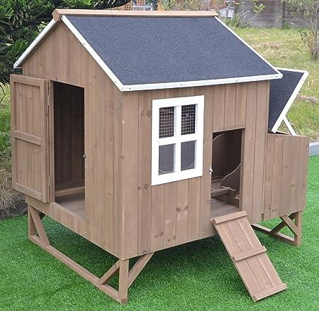 Omitree Deluxe Hühnerstall Aus Holz Für 4 8 Hühner Mit 3 Nistkästen Amazon De Garten
