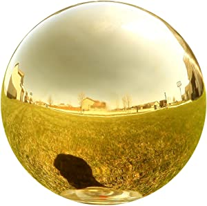 Lily's Home Stainless Steel Gazing Globe Mirror Ball, Colorful and Shiny Addition to Any Garden or Home. Shiny Gold.