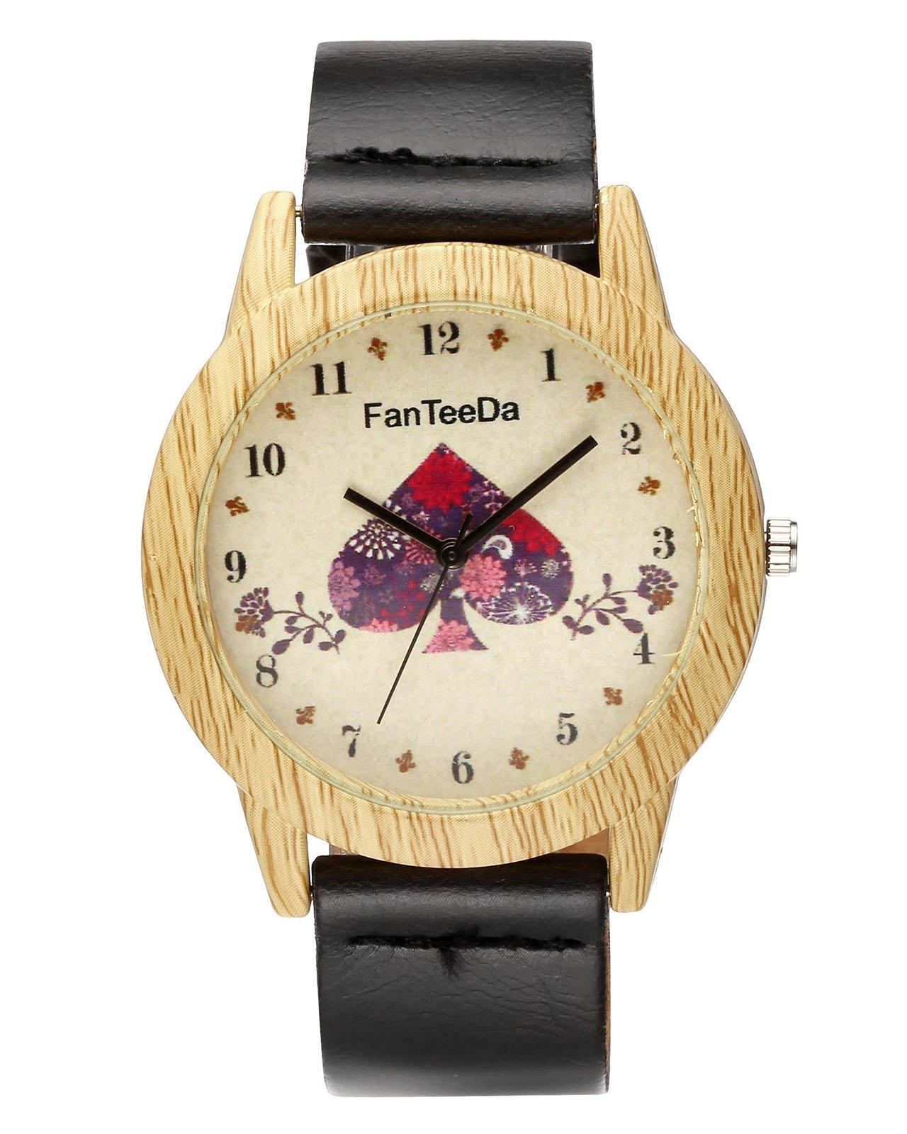 JSDDE Uhren,Vintage Holz-Muster Herz Armbanduhr Damenuhr Kleid Uhr PU Lederarmband Analog Quarzuhr,Schwarz