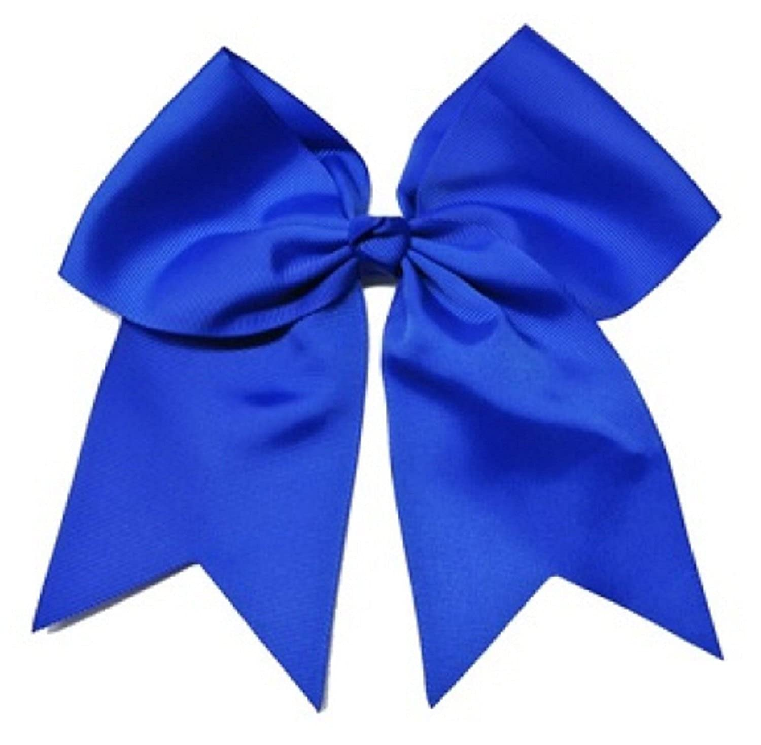 Kenz Laurenz Cheer Bows Blue Cheerleading Softball - Gifts for Girls and Women Team Bow with Ponytail Holder Complete your Cheerleader Outfit Uniform Strong Hair Ties Bands Elastics 852668462023