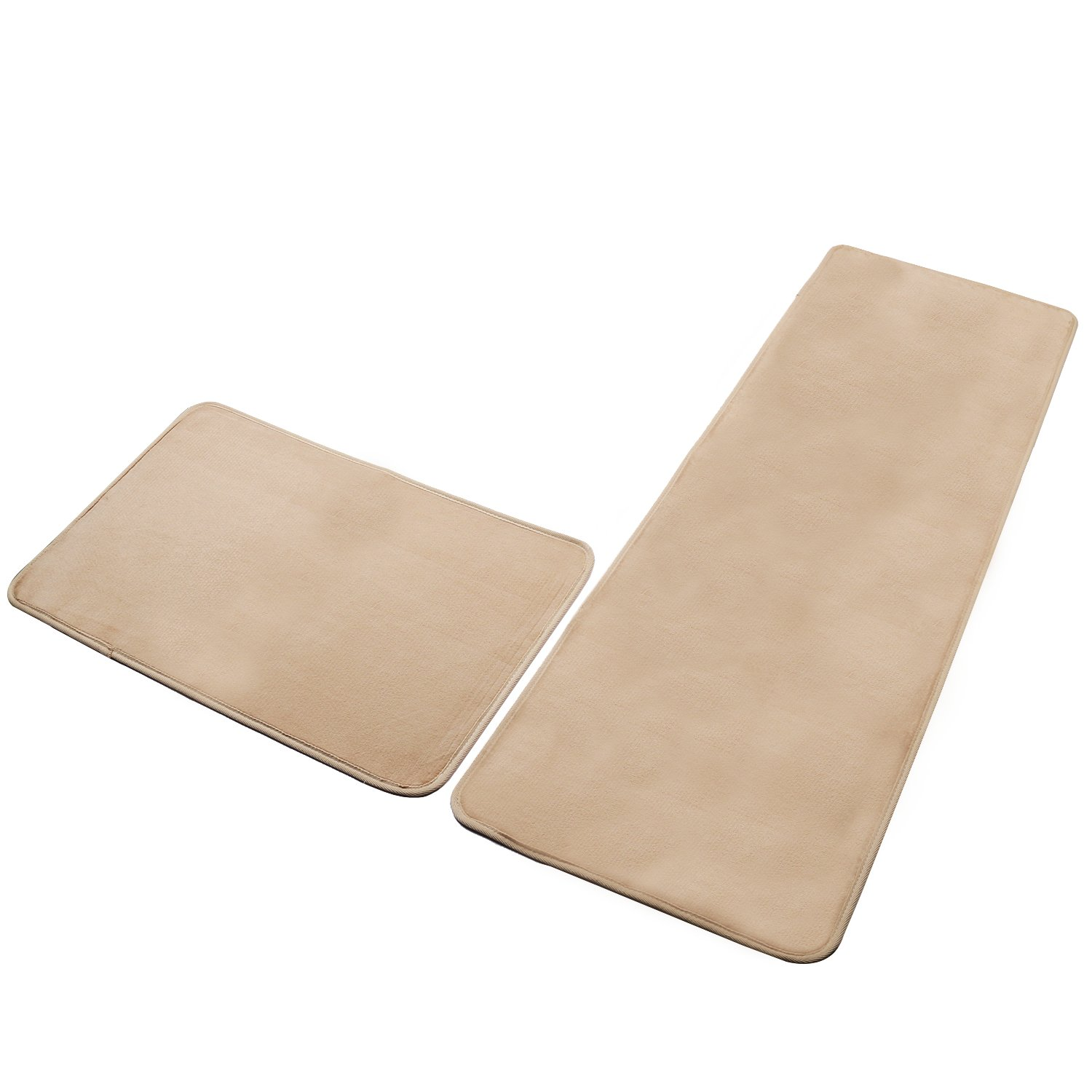 SHACOS Set of 2 Flannel Kitchen Rugs and Mats Rubber Backing Anti-Bacterial and Non-slip Runner Rugs (16×24 inch+16×47inch, Camel)