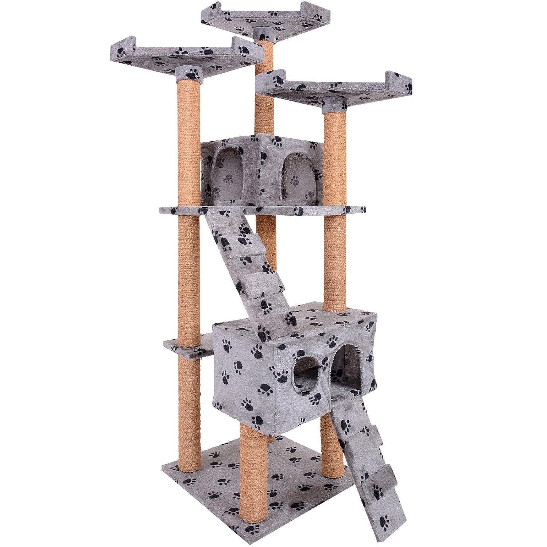 Leopet - Árbol rascador para gatos con cuevas, escaleras y plataformas - color gris con pisadas: Amazon.es: Hogar