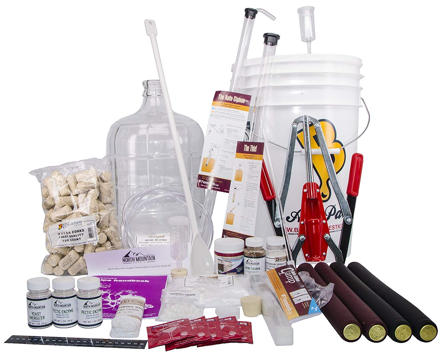 North Mountain Supply 3 Gallon Wine from Fruit Complete 32pc Kit with Glass Carboy - Only Fruit & Bottles Required by North Mountain Supply (Image #1)