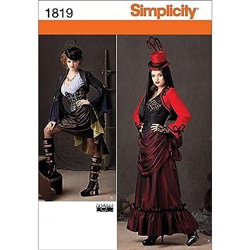 Simplicity Muster 1819 R5 Schnittmuster Steampunk Kostüm Größe, 14 ...
