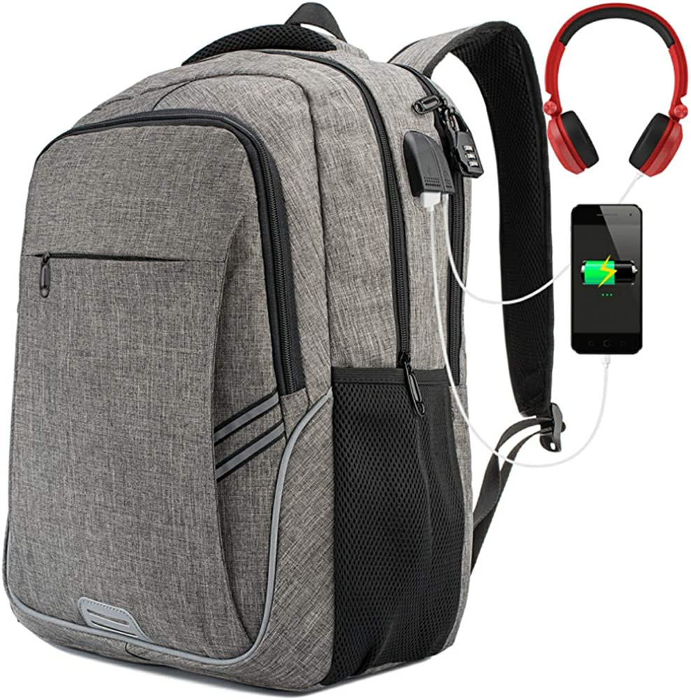 Anti Theft Laptop Backpack with USB Charging Port College Computer Backpack