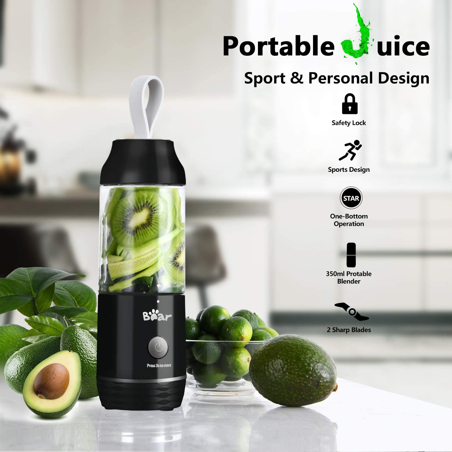 Black Portable Personal Blenders for Shakes and Smoothies Bear Mini Smoothie Blenders for Kitchen USB Rechargeable Small Handheld Blenders Juicer Cup with 11.84oz BPA Free Travel Sports Bottle and Lid