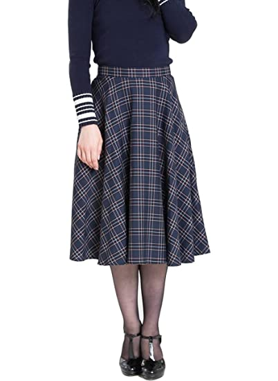 0a74a80b20 Hell Bunny Peebles Tartan 50s Vintage Retro Flare Swing Skirt - Green (XL -  UK