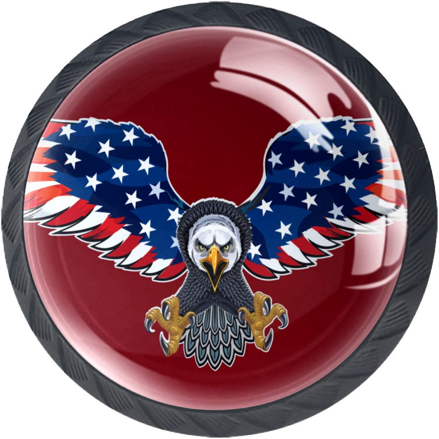 Kitchen Cabinet Knobs - American Eagle with USA Flags - 1.38 Inch Round Drawer Handles - 4 Pack of Kitchen Cabinet Hardware