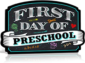 Bigtime Signs First Day of Preschool Sign Board Plaque Back to School Sign for use as Photo Prop for a Boy or Girl 10 inches x 15.5 inches (Pre K))