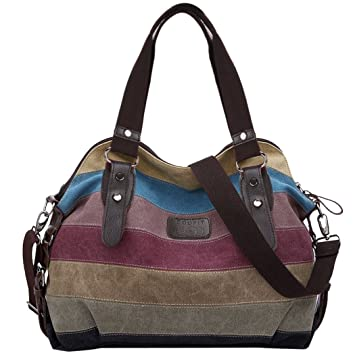 db62178c490a Womens Handbags,COOFIT Ladies Handbags Striped Canvas Tote Crossbody  Shoulder Bags for Women: Amazon.co.uk: Luggage
