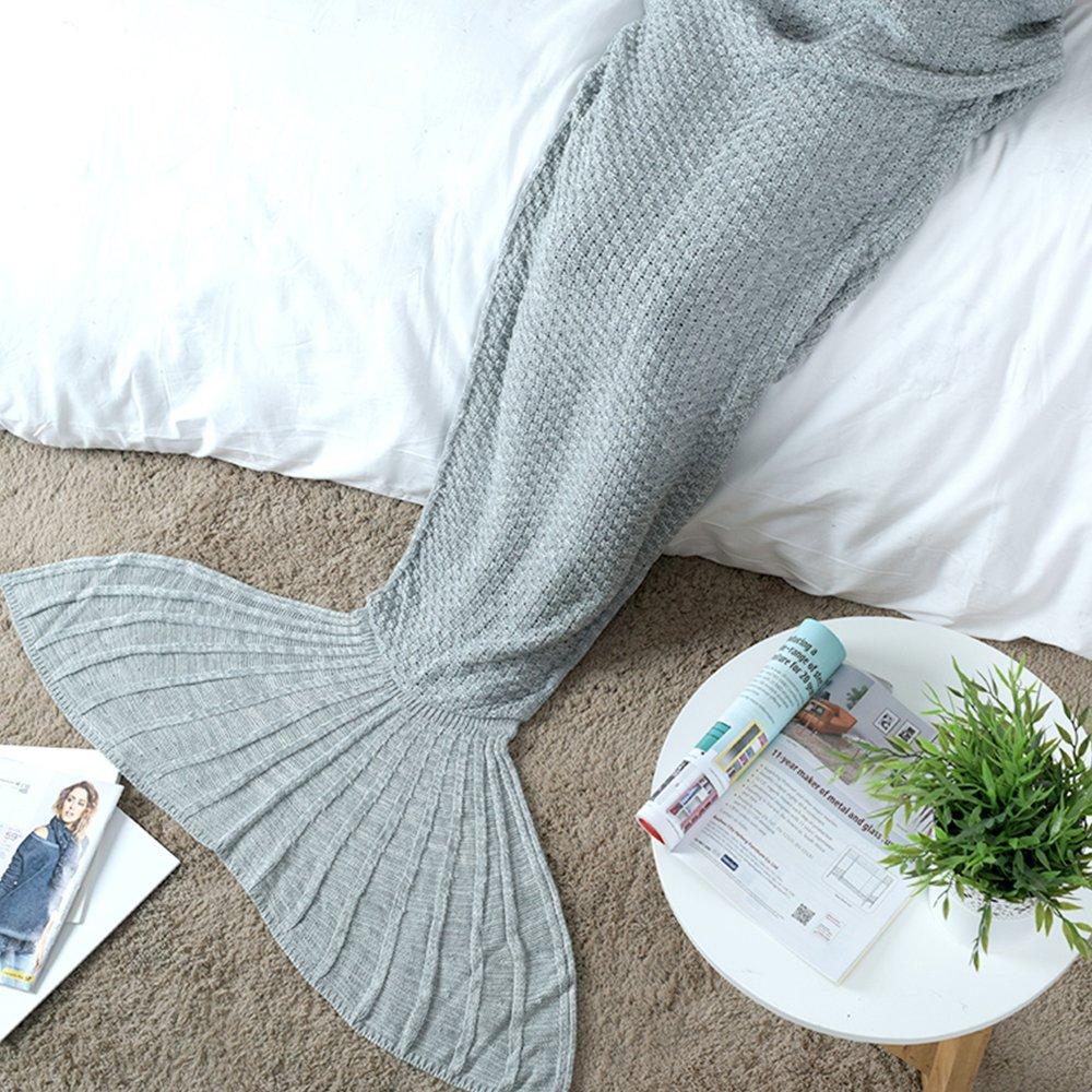 Mermaid Tail Blanket Crochet Mermaid Blanket for Adult, Soft All Seasons Sleeping Blankets, Classic Pattern