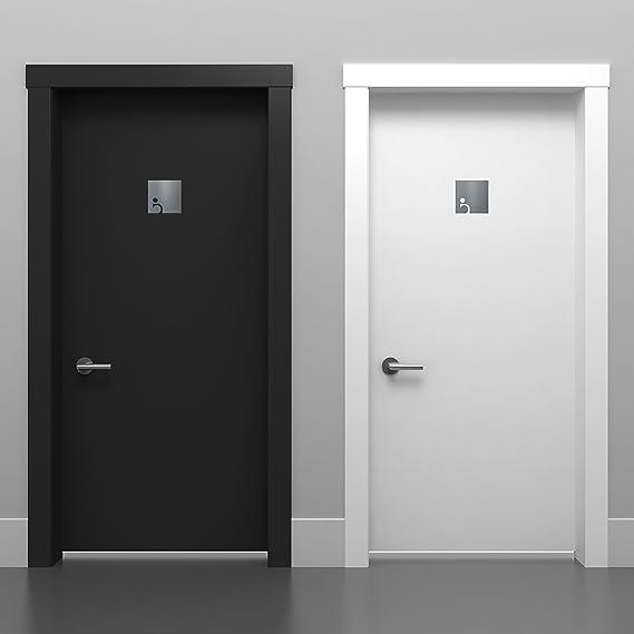 instalaci/ón sin herramientas se/ñalizaci/ón autoadhesiva de acero inoxidable para el ba/ño discapacitados B03 r/ótulo para inodoro Letrero para WC minusv/álidos