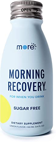 Morning Recovery: Patent-Pending Hangover Prevention Drink (Pack of 6) - New & Improved Sugar Free Lemon Flavor - Highly Bioa
