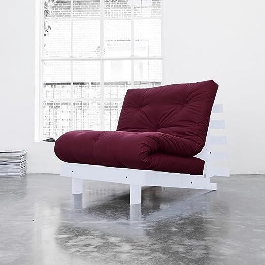 natural colchones Juego de rojos de algodón Futon colchón gris marco de madera Estructura de artículos de cama Juego de dormir japonés, algodón, rojo, 140 x 200 cm: Amazon.es: Hogar