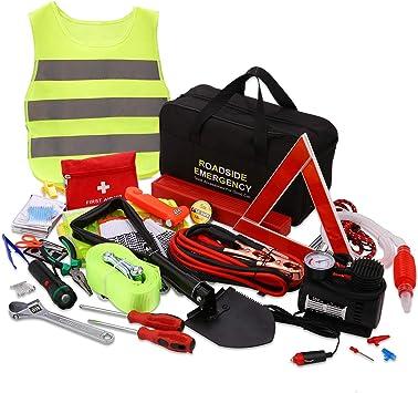 QLOUNI 12-in-1 Auto Notfall-Werkzeugset Pannenhilfe Set Auto Sicherheit Kit mit Aufbewahrungstasche Pannenwerkzeugset wie Starthilfekabel,Abschleppseil,Warndreieck Taschenlampe,Sicherheitshammer usw.