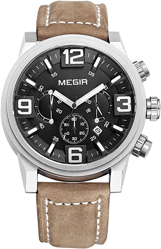 Megir pour homme Grand cadran chronographe étanche militaire Cuir montres à quartz avec calendrier Aiguilles lumineuses