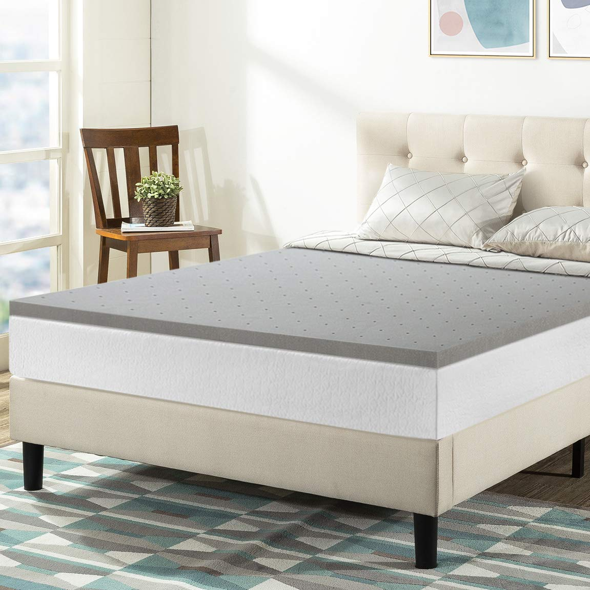 Best Price Mattress Full Mattress Topper - 1.5 Inch Bamboo Charcoal Infused Memory Foam Bed Topper Cooling Mattress Pad, Full Size by Best Price Mattress