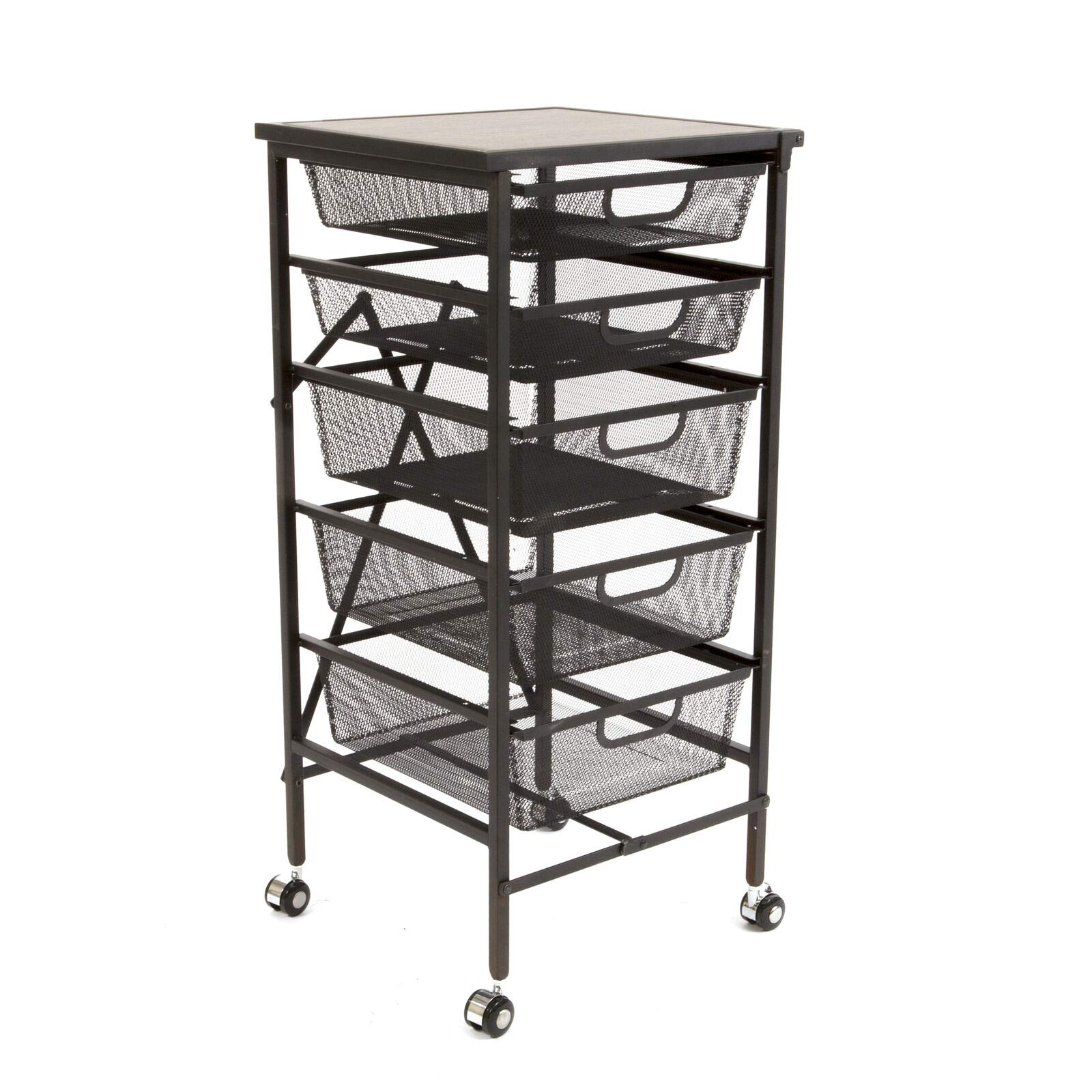 NanaPluz 34'' Black Rolling Wheeled 5-Tier Steel Foldable Drawer Caddy Cart Storage Rack Cabinet Organizer w/Wooden Top with Ebook