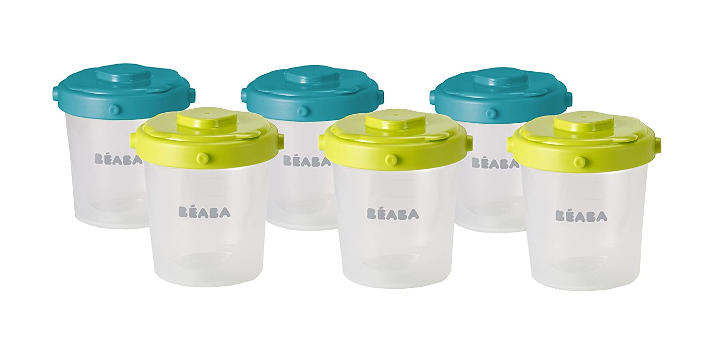 BEABA Clip Peacock Containers Snacks and Baby Food 6 Piece, 7 oz