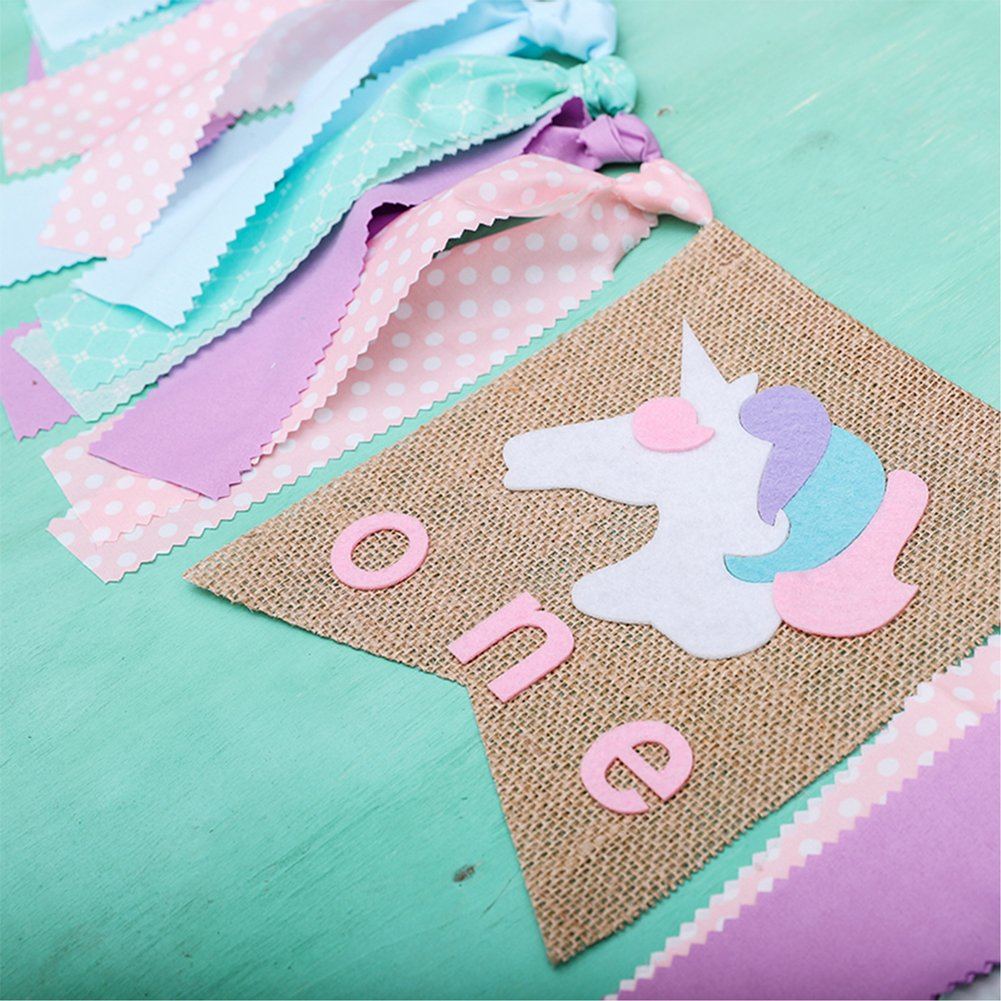 Unicorn One Birthday Highchair Decoration Colorful Ribbons Garland 1ST Happy Banner Assembled Girls Boys First